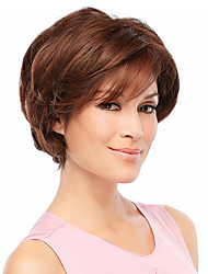 cheap -Human Hair Wig Wavy Short Hairstyles 2020 Wavy Capless Dark Brown / Dark Auburn Strawberry Blonde / Bleach Blonde Beige Blonde / Bleach Blonde
