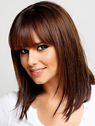 cheap -Human Hair Wig Straight Neat Bang With Bangs Straight Capless Women's Dark Brown / Dark Auburn Strawberry Blonde / Bleach Blonde Golden Brown / Bleach Blonde
