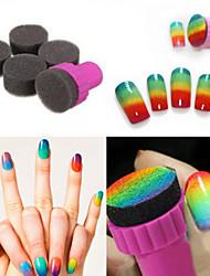 Недорогие -1 комплект DIY 1 штампа + 4 изменчива губки ногтей дизайн оттенок передача штампа
