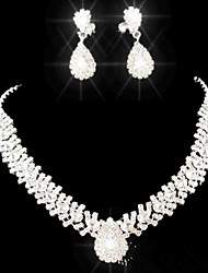 cheap -Crystal Jewelry Set Pendant Necklace Tassel Pear Cut Drop Ladies Party Fashion Elegant everyday Cubic Zirconia Imitation Diamond Earrings Jewelry White For Party Special Occasion Anniversary Birthday