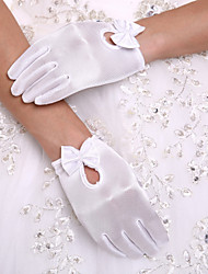 cheap -Spandex Wrist Length Glove Party / Evening Gloves / Flower Girl Gloves With Bowknot / Pearl