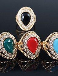 cheap -Women's Statement Ring Red Green Blue Gold Plated Ladies Fashion Party Jewelry Solitaire