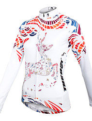 cheap -ILPALADINO Women's Long Sleeve Cycling Jersey Winter Fleece 100% Polyester White Floral Botanical Plus Size Bike Jersey Top Mountain Bike MTB Road Bike Cycling Breathable Quick Dry Sports Clothing