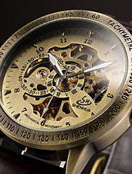 cheap -Men's Skeleton Watch Wrist Watch Mechanical Watch Automatic self-winding Luxury Hollow Engraving Analog Black Brown / Leather