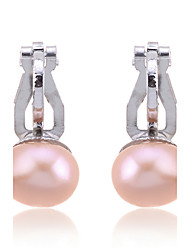 cheap -Women's Pearl Clip on Earring Ladies Fashion Elegant everyday Pearl Imitation Pearl Silver Plated Earrings Jewelry White / Black / Champagne For Wedding Party Daily Casual Masquerade Engagement Party