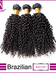 cheap -3 Bundles Brazilian Hair Classic Kinky Curly Virgin Human Hair Natural Color Hair Weaves / Hair Bulk 12-14 inch Human Hair Weaves Human Hair Extensions / 10A