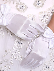 cheap -Stretch Satin Wrist Length Glove Bridal Gloves With Bow