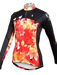 cheap -ILPALADINO Women's Long Sleeve Cycling Jersey Winter Fleece Black / Orange Phoenix Plus Size Bike Jersey Top Mountain Bike MTB Road Bike Cycling Breathable Quick Dry Sports Clothing Apparel