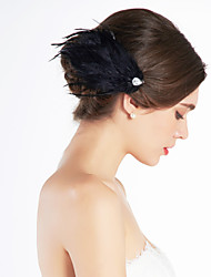 cheap -Gorgeous Feather Wedding Bridal Corsage Headpiece Black