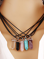 cheap -Women's Turquoise Crystal Pendant Necklace Ladies Personalized Geometric Vintage Synthetic Gemstones Crystal Turquoise Dark Brown Transparent White Black Purple Necklace Jewelry For Party Daily Casual
