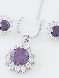 cheap -Women's Purple Black Blue Cubic Zirconia Jewelry Set Round Cut Ladies Earrings Jewelry Blue / Burgundy / Champagne For Wedding Party Special Occasion Anniversary Birthday Engagement / Necklace
