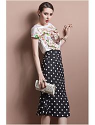 cheap -Women's Daily Trumpet / Mermaid Skirts - Polka Dot Ruffle Black M L XL