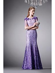 cheap -Formal Evening Dress - Lilac Trumpet/Mermaid Jewel Floor-length Satin / Silk