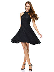cheap -Ball Gown Illusion Neck Knee Length All Over Lace Little Black Dress Cocktail Party / Homecoming / Prom Dress with Lace 2020