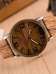 cheap -Men's Fashion Watch Wood Watch Japanese Quartz Quilted PU Leather Brown / Grey 30 m Casual Watch Analog Charm - 4# 5# 6# Two Years Battery Life