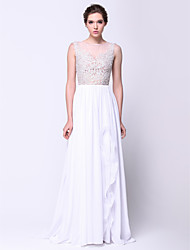 cheap -A-Line See Through Prom Formal Evening Dress Illusion Neck Sleeveless Sweep / Brush Train Chiffon Lace Tulle with Appliques 2020