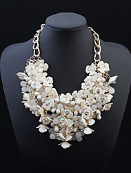 cheap -Statement Necklace Flower Statement European Resin Alloy White Necklace Jewelry For Wedding Party Special Occasion Anniversary Birthday Gift