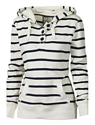 cheap -Women's Casual Hoodie - Striped Stripe White M / Spring