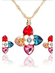 cheap -Hot Fashion Multicolor Zircon Pendant Necklace Owl Drop Earring Wedding Jewelry Set