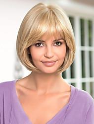cheap -Human Hair Wig Straight Short Hairstyles 2020 Straight Capless Dark Brown / Dark Auburn Beige Blonde / Bleach Blonde Auburn Brown / Bleach Blonde