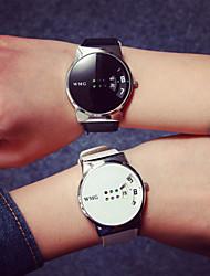 cheap -Men's Wrist Watch Digital Quilted PU Leather Black / White Water Resistant / Waterproof Casual Watch Cool Digital Casual - White Black / Stainless Steel