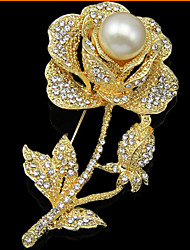 cheap -Women's Brooches Flower Roses Flower Party Ladies Luxury Fashion Pearl Cubic Zirconia Rose Gold Plated Brooch Jewelry Gold For Party Wedding Special Occasion Anniversary Birthday Gift