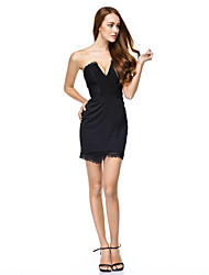 cheap -Sheath / Column Cocktail Party Company Party Dress Strapless Sleeveless Short / Mini Jersey with Lace 2020