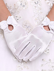 cheap -Spandex Wrist Length Glove Bridal Gloves / Party / Evening Gloves With Bowknot / Pearl