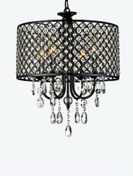 "cheap -QINGMING® 4-Light 40(16"") Crystal Chandelier Drum Chrome Modern Contemporary 110V / 110-120V / 220-240V"