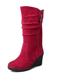 cheap -Women's Boots Wedge Heel Round Toe Zipper / Tassel Fleece Mid-Calf Boots Comfort / Snow Boots Walking Shoes Fall / Winter Black / Green / Red / EU40