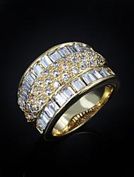 Недорогие -Жен. Кольцо Цирконий Золотой Циркон Позолота Мода Свадьба Для вечеринок Бижутерия