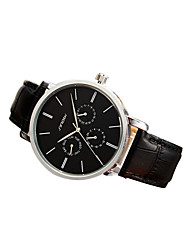 cheap -SINOBI Men's Casual Watch Aviation Watch Leather Wrist Watch - Black