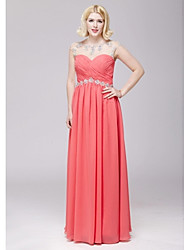 cheap -A-Line Open Back Prom Formal Evening Dress Illusion Neck Sleeveless Floor Length Chiffon with Beading 2021