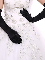 cheap -Elastic Satin / Spandex Fabric Opera Length Glove Bridal Gloves / Party / Evening Gloves With Ruffles