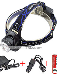 cheap -568-T6 01 Headlamps Waterproof 2000 lm LED LED Emitters 3 Mode with Chargers Waterproof Camping / Hiking / Caving Everyday Use Diving / Boating UK AU EU USA Blue / Aluminum Alloy / US Plug / EU Plug