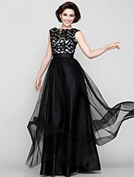 cheap -A-Line Mother of the Bride Dress Vintage Inspired Scoop Neck Floor Length Tulle Sleeveless with Pattern / Print 2021