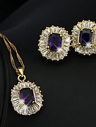 cheap -High End Crystal Jewelry Set Pendant Necklace Vintage Party Work Casual Elegant Gold Plated Earrings Jewelry Purple For