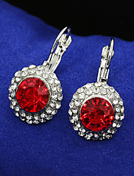 cheap -Women's Crystal Drop Earrings Lever Back Earrings Luxury Sterling Silver Cubic Zirconia Gold Plated Earrings Jewelry Silver / Red / Royal Blue For / Imitation Diamond