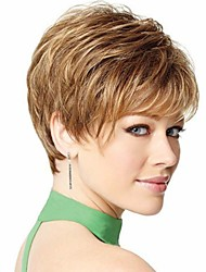 cheap -new stylish blonde brown color short wavy synthetic hair wigs