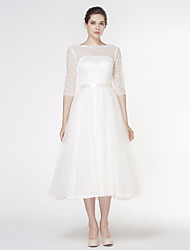cheap -A-Line Bateau Neck Tea Length Lace / Tulle Half Sleeve See-Through Made-To-Measure Wedding Dresses with Lace 2020