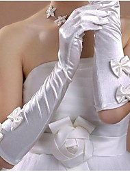 cheap -Cotton / Satin Wrist Length / Elbow Length Glove Charm / Stylish / Bridal Gloves With Embroidery / Solid