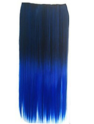 cheap -clip in synthetic straight hair extensions with 5 clips two tone color synthetic extensions