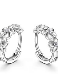 cheap -Women's Crystal Stud Earrings Huggie Earrings Flower Camellia Ladies Fashion Sterling Silver Crystal Silver Earrings Jewelry Silver For Wedding Party Daily / S925 Sterling Silver