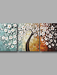 cheap -Oil Painting Hand Painted Horizontal Panoramic Floral / Botanical Modern Stretched Canvas / Three Panels