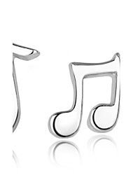 cheap -Women's Stud Earrings Mismatched Music Music Notes Ladies Fashion Sterling Silver Silver Earrings Jewelry Silver For Wedding Party Daily
