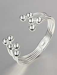cheap -Women's Bracelet Bangles Beads Ladies Unique Design Fashion Sterling Silver Bracelet Jewelry Silver For Wedding Party Daily Casual