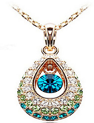 cheap -Women's Crystal Pendant Necklace Pave Drop Ladies Fashion Indian Cubic Zirconia Rhinestone Screen Color Necklace Jewelry For