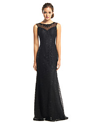 cheap -Mermaid / Trumpet Illusion Neck Floor Length Sequined / Lace Over Tulle Prom / Formal Evening Dress with Beading / Sequin 2020