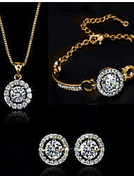 cheap -Cubic Zirconia Jewelry Set Party Work Link / Chain Zircon Cubic Zirconia Earrings Jewelry Gold For 1 set