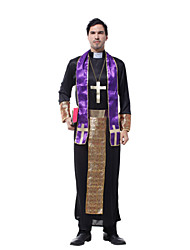 cheap -Witch Ethnic / Religious Cosplay Costume Men's Men's Uniform Christmas Halloween Carnival Festival / Holiday Polyester Black Men's Carnival Costumes